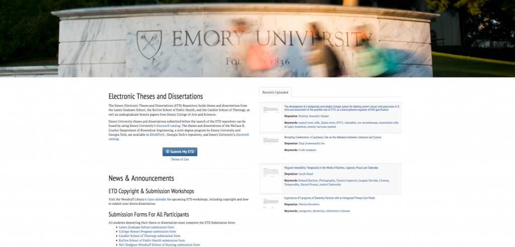 Screenshot of Emory's new homepage